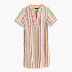 J Crew Candy Stripe Shift V-Neck Short Sleeve